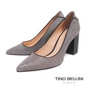 Tino Bellini 巴西進口蛇紋佐雙色條紋尖頭跟鞋 _ 黑 B83228 歐洲進口款