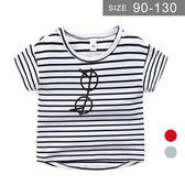 男童短袖T恤。ROUROU童裝。夏男童中小童95%棉條紋假眼鏡圓領短袖T恤 0121-438