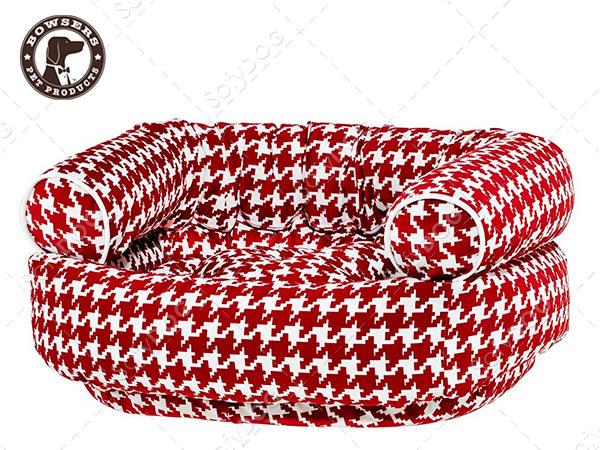 【毛麻吉寵物舖】Bowsers雙層極適寵物沙發床- 紅白千鳥紋M 寵物睡床/狗窩/貓窩/可機洗