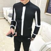 發型師長袖襯衫青年韓版修身潮流時尚帥氣個性拼接襯衣    琉璃美衣