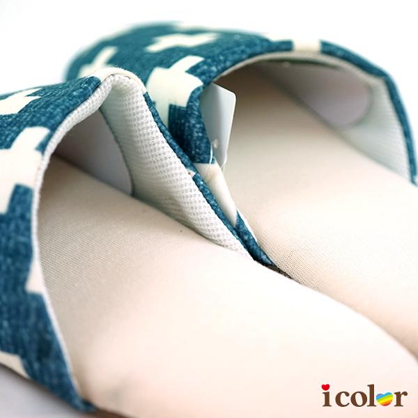 icolor 十字風室內輕音拖鞋