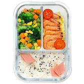分隔微波爐專用碗加熱保鮮便當盒分格餐盒上班帶飯玻璃飯盒【onecity】