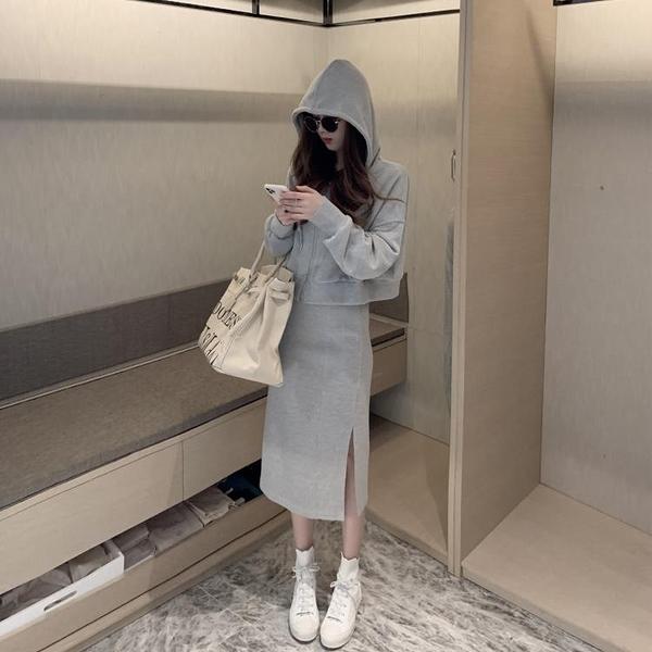 套裝 春裝2021 網紅 休閑時尚套裝女 韓版 連帽衛衣 半身裙 洋氣小個子 兩件套