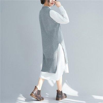 長袖上衣2858#v領純色馬甲開叉胖MM大碼毛衣針織連衣裙.N601C.愛尚布衣