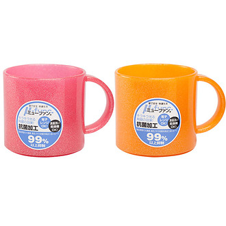 日本製mju-func®妙屋房雙人2件組(粉橘+粉紅)高級抗菌加工潄口杯UG-MOP