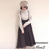 ❖ Winter ❖ 棉麻混紡格紋高腰吊帶裙 (提醒➯SM2僅單一尺寸) - Sm2