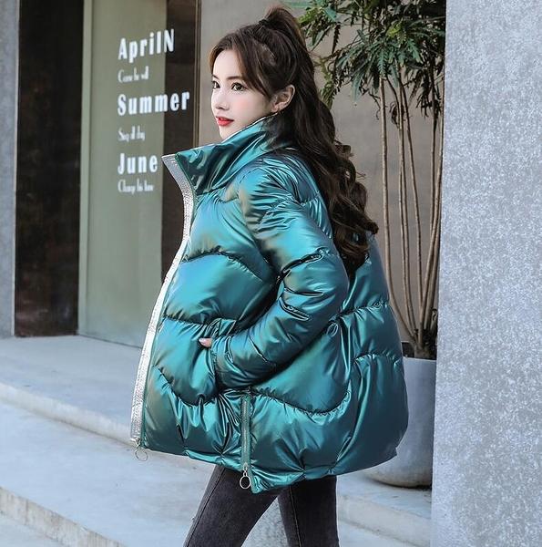 羽絨服 反季亮面羽絨棉服女短款2020冬季新款棉衣韓版寬松棉襖面包服外套