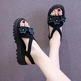 楔形涼鞋 坡跟涼鞋女2021年夏季新款百搭網紅水鉆仙女風羅馬厚底鬆糕ins潮
