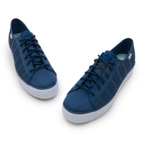 LIKA夢 Keds 時尚韓風經典厚底休閒鞋 TRIPLE KICK 系列 靛藍 132438 女