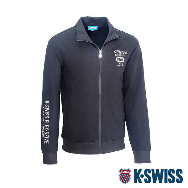 K-SWISS Solid Mock Neck Jacket運動外套-男-黑