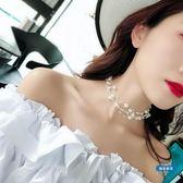 項鍊氣質珍珠多層鎖骨鍊女日韓簡約chocker項圈脖子飾品短版項鍊 (一件免運)