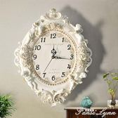 歐式客廳創意時尚藝術裝飾掛鐘靜音臥室時鐘大掛鐘錶天使石英鐘錶 HM 范思蓮恩