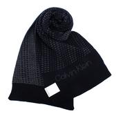CalvinKlein 新款CK雙色編織LOGO圍巾(深藍色)103212-6