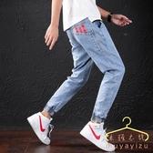 降價兩天 夏季九分牛仔褲男 韓版潮流修身小腳褲 男裝青少年休閒薄款哈倫褲子