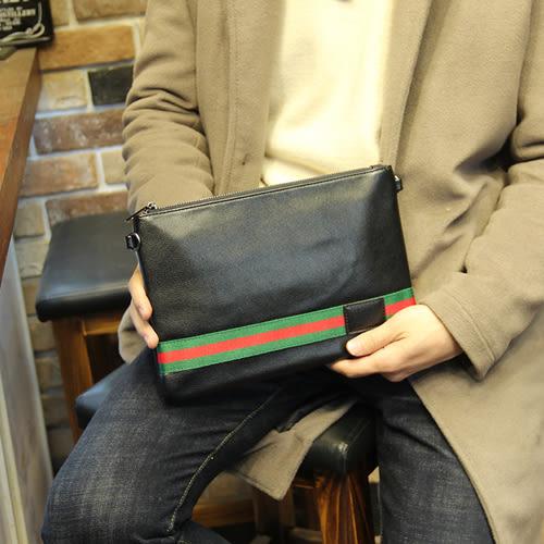PocoPlus 時尚男包 潮流手拿包歐美手包小包 條紋男女信封包A4文件包潮 B892
