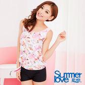 SUMMERLOVE夏之戀-粉紅花園長版二件式泳衣-E13712
