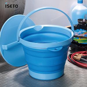 【日本ISETO】日製伸縮折疊式防滑水桶(附蓋)-8L粉藍