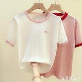 冰絲t恤女短袖寬鬆2020年夏季新款韓版圓領套頭薄款針織衫女上衣 FX8308 【寶貝兒童裝】