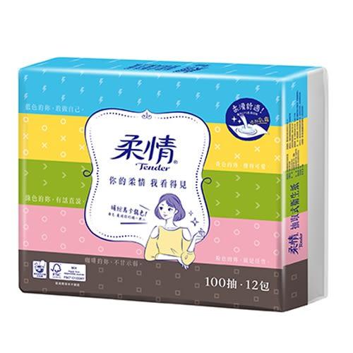 柔情抽取式衛生紙100抽*12包【愛買】