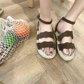 韓版夏季新款百搭學生一字露趾鞋舒適平底鞋涼鞋女 古梵希