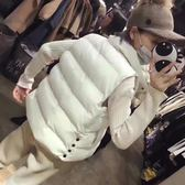 羽絨棉馬甲女秋冬短款外套韓版寬鬆純色側紐扣面包棉背心上衣外套  潮流前線