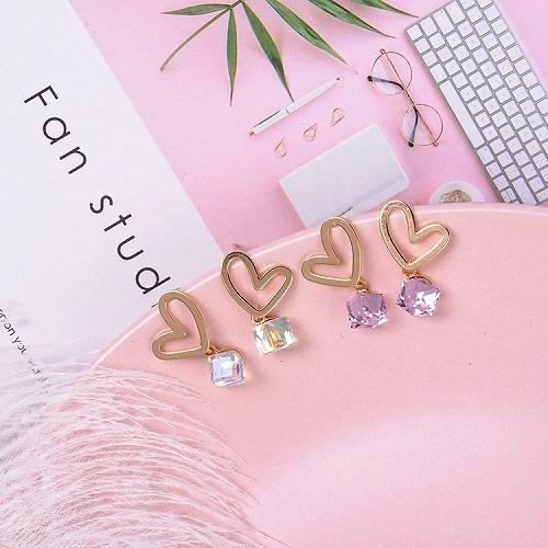【NiNi Me】韓系耳環 925銀針氣質甜美鏤空愛心水晶耳針 耳環 N0356