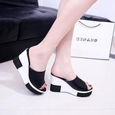 厚底拖鞋 拖鞋女夏高跟韓版坡跟涼拖鬆糕防滑平底休閒