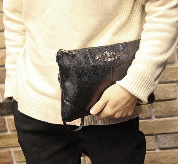 FINDSENSE Z1 韓國 時尚 潮 男 皮質 個性拉鏈 手提包 手拿包 皮