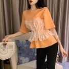 夏季時尚女裝韓版拼接蕾絲假兩件百搭收腰修身顯瘦短袖T恤上衣潮 嬌糖小屋
