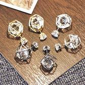 前後式 鏤空 水晶 百搭 氣質 時尚 韓國 韓版 飾品 耳飾 耳圈 耳釘 耳環 女
