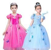 兒童禮服 冰雪奇緣禮服女童灰姑娘連衣裙兒童春夏季長裙短袖