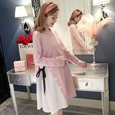 漂亮小媽咪 韓系洋裝 【D9862】 修身 顯瘦 長袖 拼接 雪紡 孕婦洋裝 孕婦裝 孕婦洋裝 []