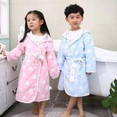兒童浴袍女孩棉質紗布加厚吸水冬季帶帽浴巾寶寶卡通浴衣睡袍