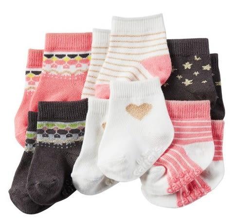 Carter's 襪子  咖啡粉紅女嬰防滑短襪6雙組
