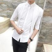夏季新款發型師中長款七分袖襯衫男雙層短袖襯衣時尚個性中袖『韓女王』