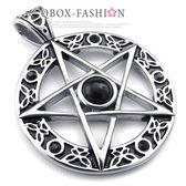 《 QBOX 》FASHION 飾品【C10023287】精緻個性圈圖紋五芒星鑄造鈦鋼墬子項鍊