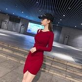 顯瘦 洋裝 修身連身裙純棉小眾圓領顯瘦連身裙女修身韓版打底裙NE215紅粉佳人