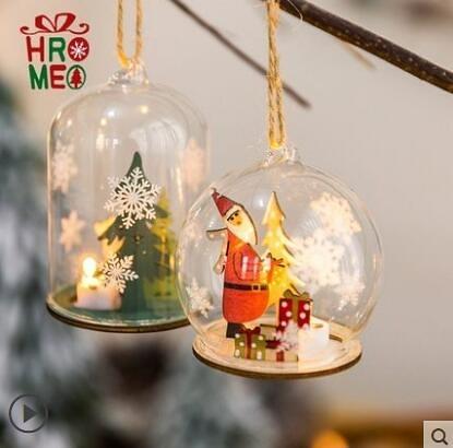 L-Hromeo聖誕裝飾品玻璃球掛件案頭擺件氛圍小夜燈耶誕節禮品禮物