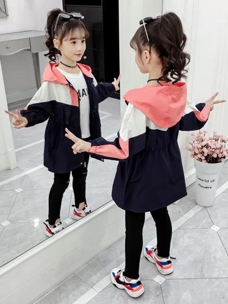 女童外套兒童洋氣網紅秋裝大童裝冬裝風衣中長款加厚夾棉