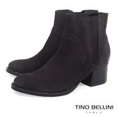 Tino Bellini義大利進口仿舊擦色中跟切爾西靴_ 深咖  B69027 歐洲進口款