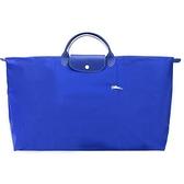 【南紡購物中心】LONGCHAMP LE PLIAGE COLLECTION刺繡短把手提旅行袋(特大/藍)