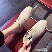 2019春季新款方頭后踩腳綁帶復古女士單鞋低筒粗跟小皮鞋中跟四季  【PINK Q】