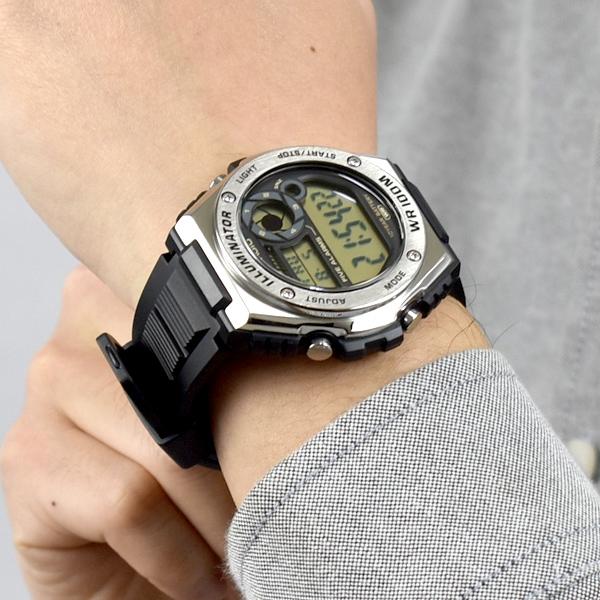CASIO手錶 金屬風兩地時間電子膠錶NECD21