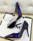 裸色細跟高跟鞋尖頭黑色工作單鞋女漆皮藍色大碼鞋紅色婚鞋 俏腳丫