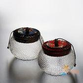 茶葉罐錘紋玻璃透明茶葉罐普洱茶倉糖果花茶儲物罐茶道配件全館免運