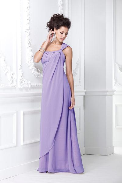 東京衣服 名模Akemi 希臘女伶 單肩帶 水鑽點綴 垂墜波浪雪紡長禮服 淺紫