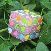 魔術方塊透明三階魔方愛心3階魔方比賽專業不掉色靈活益智玩具魔術方塊 聖誕交換禮物