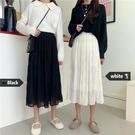 半身裙新款春夏法式超仙的韓版高腰雪紡女中長款褶皺A字裙子