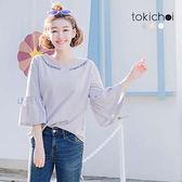 東京著衣-多色微甜領刺繡荷葉袖上衣-S.M(180733)