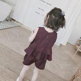 背心正韓兒童18夏無袖荷葉邊兩件套女童無袖短袖套裝時尚背心(好康618)